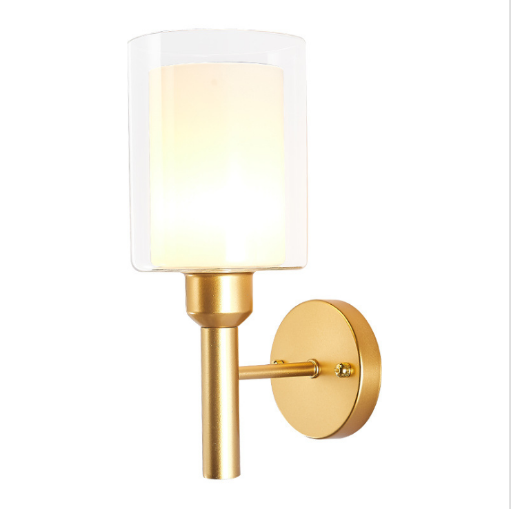 New Design Nordic Modern Gold Color Iron Glass Led Shade Wall Lamp