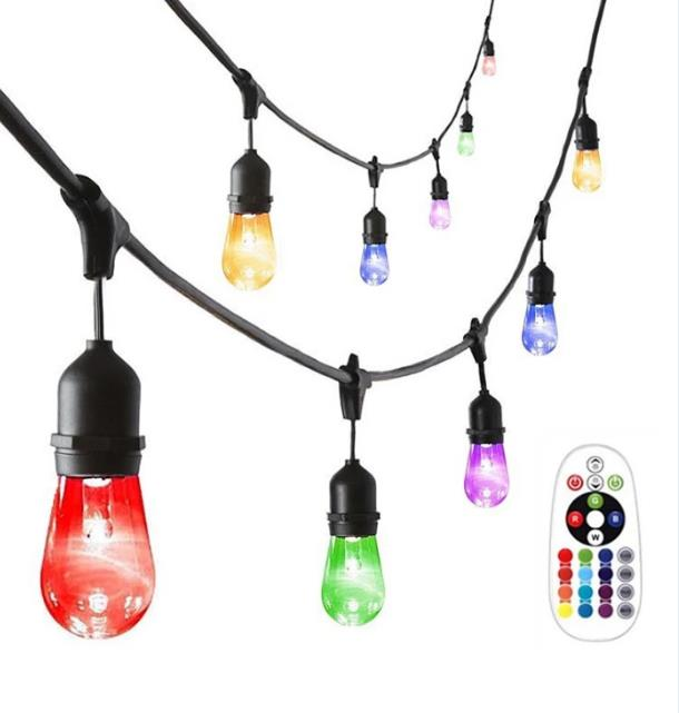 Outdoor Waterproof RGB LED String Lights for Christmas Decoration Remote Control