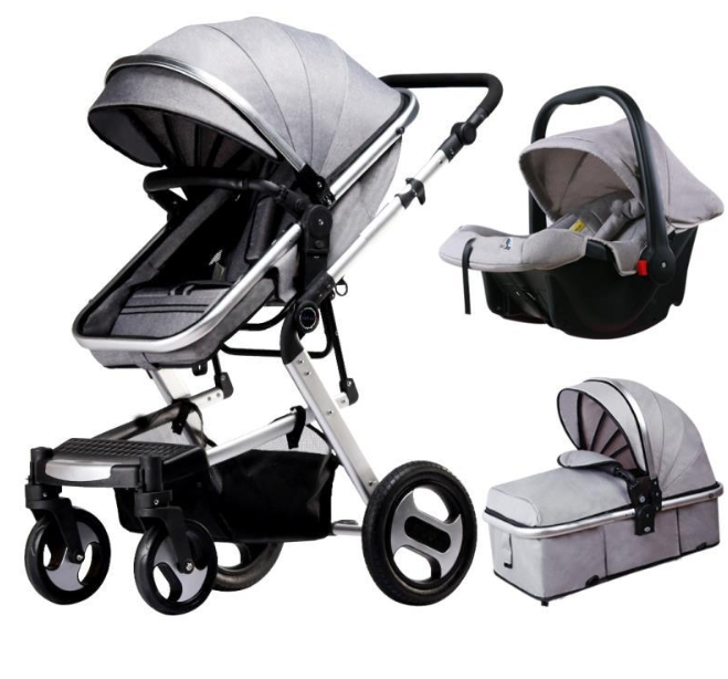 A Baby Stroller Can Be Folded up on Four Wheels wholesale
