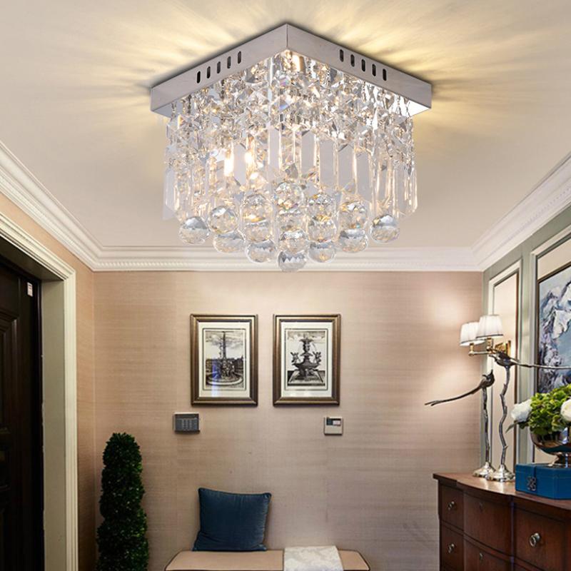 E12/E14 Square Simple Aisle Living Room LED Ceiling Crystal Lamps