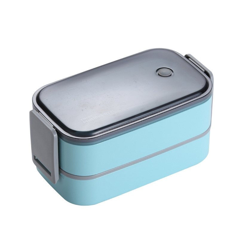 304 Stainless Steel Double-Layer Wood Grain Microwave Student Office Worker Compartment Lunch Box