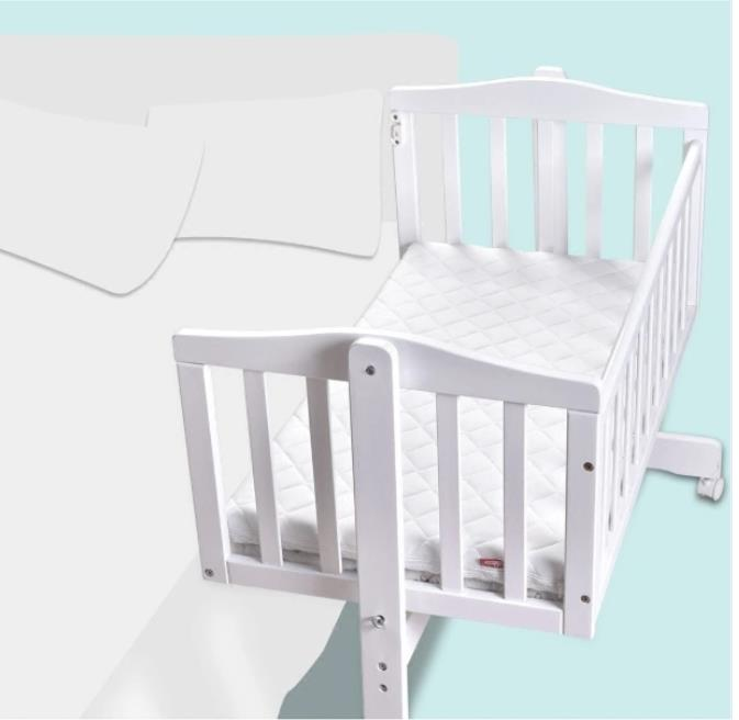 European Solid Wood Baby Bed Small Rocking Bed White Baby Bed Multi-Function Bb Bed with Mosquito Net Wholesale