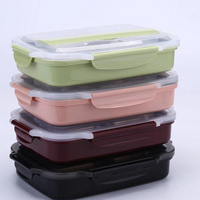Plastic Food Container Lunch Box with 5 Cells Compartments 304 Stainless Steel Bento Lunch Box Leakproof Kids and Students