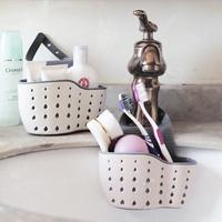 Soap Sponge Rack Kitchen Holder Suction Cup Sink Shelf Storage Drain Basket Adjustable Snap Sink Rack