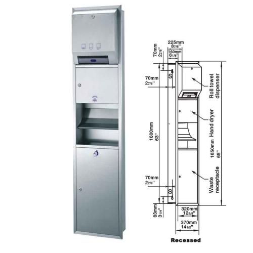 recessed roll towel dispenser/hand dryer/waster receptacleGSG82-25Z