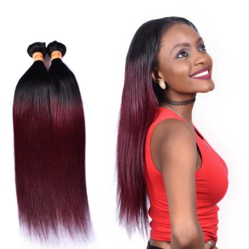 Factory Price Straight Hair Color 1B/99J# Virgin Peruvian Human Hair Bundles JFY-017