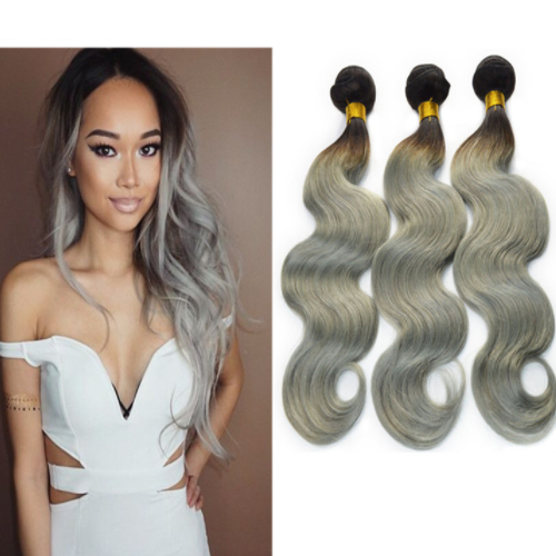 Soft and clean virginsilver grey color wholesale hair bundle, silver hair extensions JFY-021