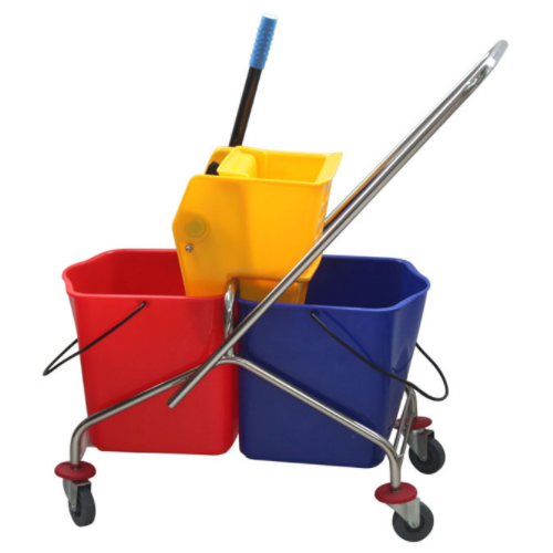 Side-press double buckets mop wringer trolley-plating   0320100600001
