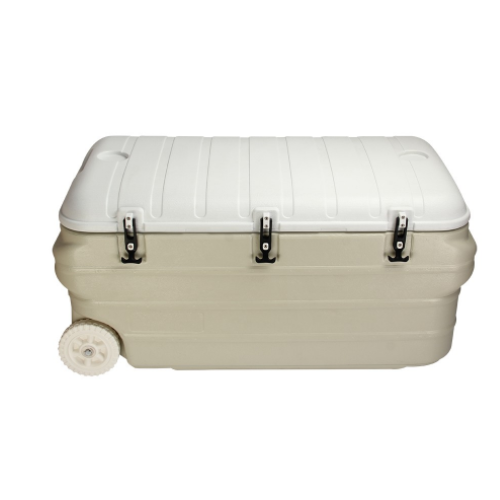 160L PU Seafood Storage Transportation Ice Chest Cooler With Wheels-MTU160L
