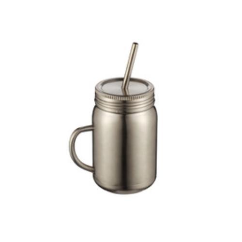 New Design Customized logo printing single wall thermos stainless steel mason jar tumbler  A16045