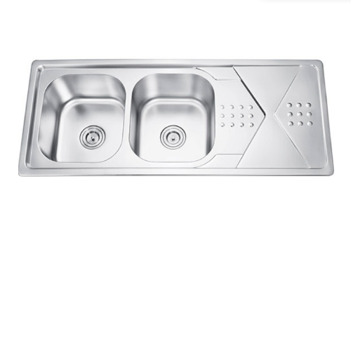 120*50CM Electroplating Stainless Steel Double Bowl Sink With Drainboard DS 12050G
