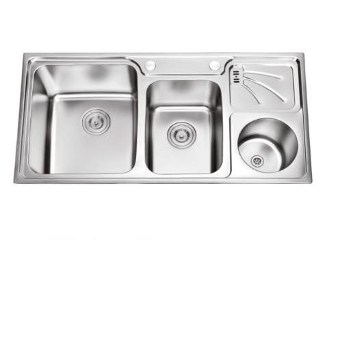 SUS 304 Inox Double Bowl Family Kitchen Sink 9848 with Drainboard Rubbish-Bin  DBR 9848