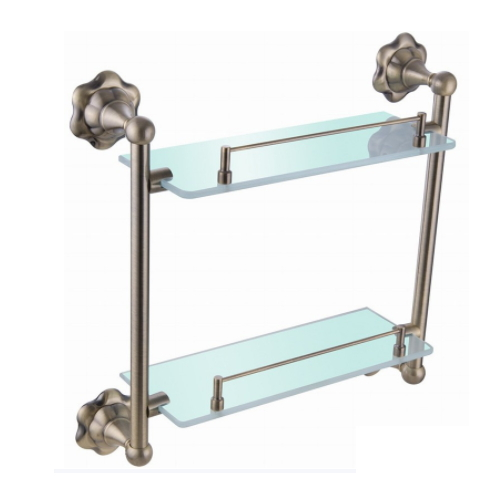 wall mounted antique bronze brass double tier tempered glass wall suction cup shelf KD-9514