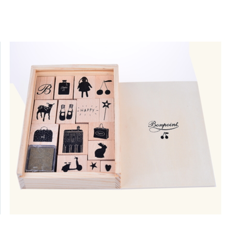 Wood box Wooden stamp set ,children' toy include ink pad   ZY53