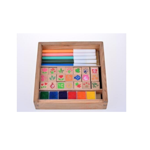 Wood box wooden seal satmp set with ink pad and water color pens   ZY54