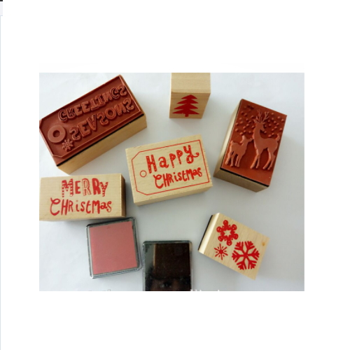 Wooden stamp set with ink pad clear stamps christmas   ZY55