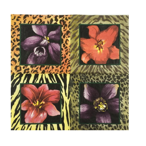 decorative flower and printed dinner paper napkin   AY-88