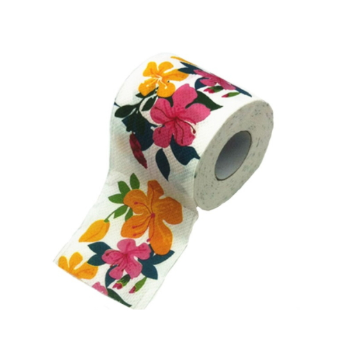 Virgin Wood Pulp Material customized printing Toilet Paper Roll with flowers design     AY-056