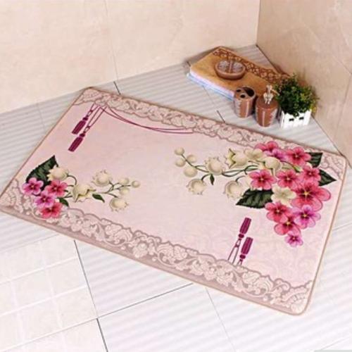super soft fashion embossed printing flower anti-skid carpet mat door rugs    DWH