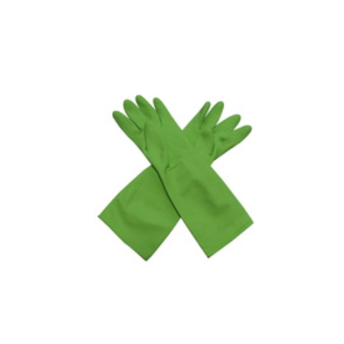 Green long cleaning flock lined gloves / reusable cleaning gloves   HY23