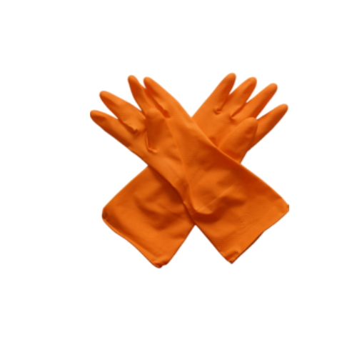 Orange Flocklined Reusable Professional Dishwashing Cleaning Janitorial Gloves  HY25