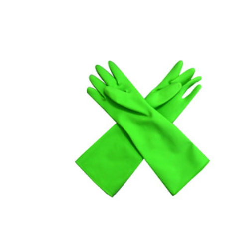 Green long cleaning kitchen gloves / durable gloves with high quality    HY31