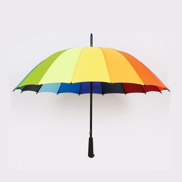 High Quality Straight Rainbow Umbrella with Customized Logo Printing  HS-148