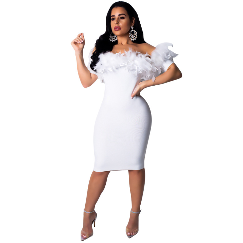 Large size women's clothing off the shoulder tight nightclub dress 2019 BY-005
