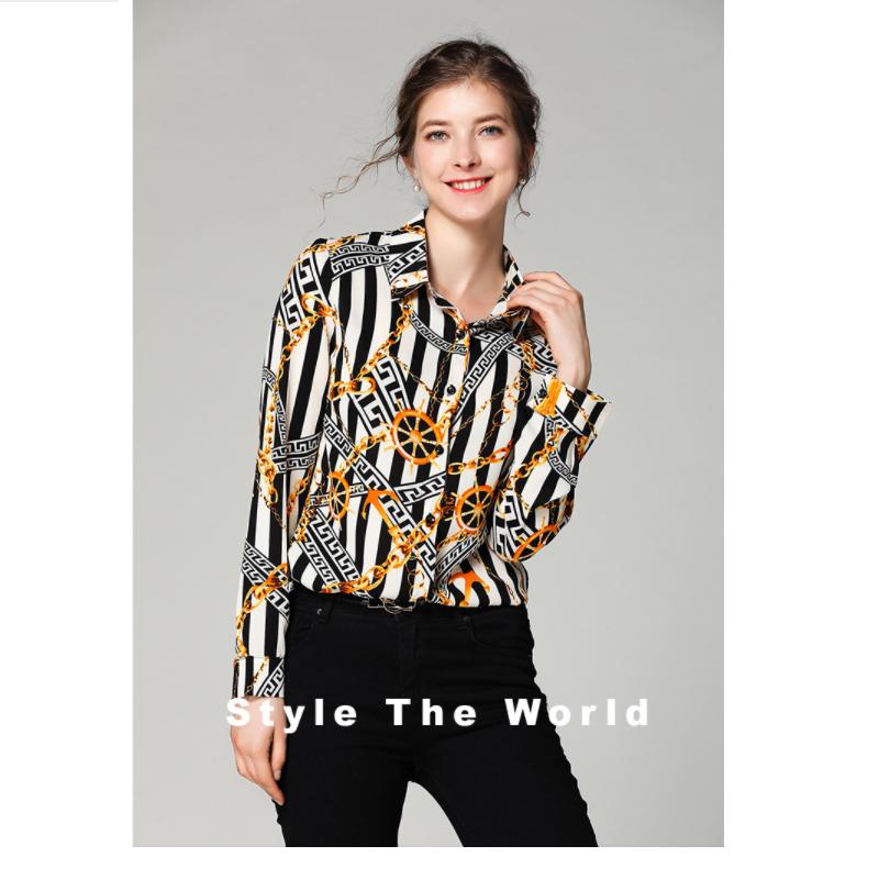 Long sleeve sexy V-neck chiffon blouse women's T-shirt YP-004