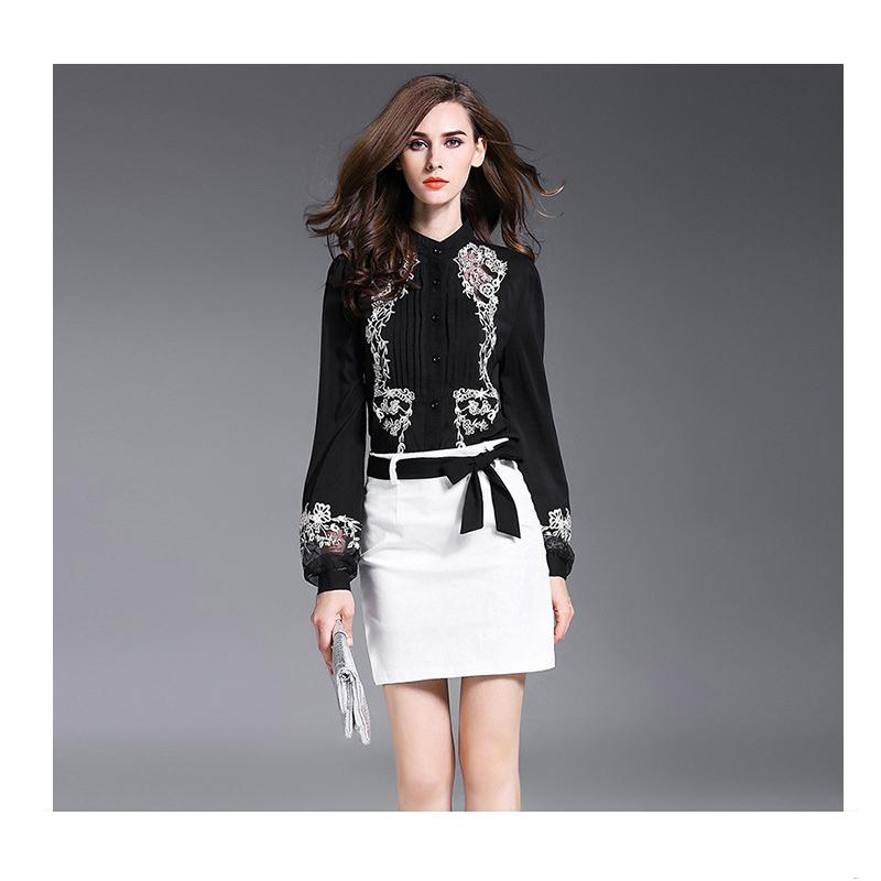 Ladies chiffon elegant embroidered shirt  fashion career shirt YP-005