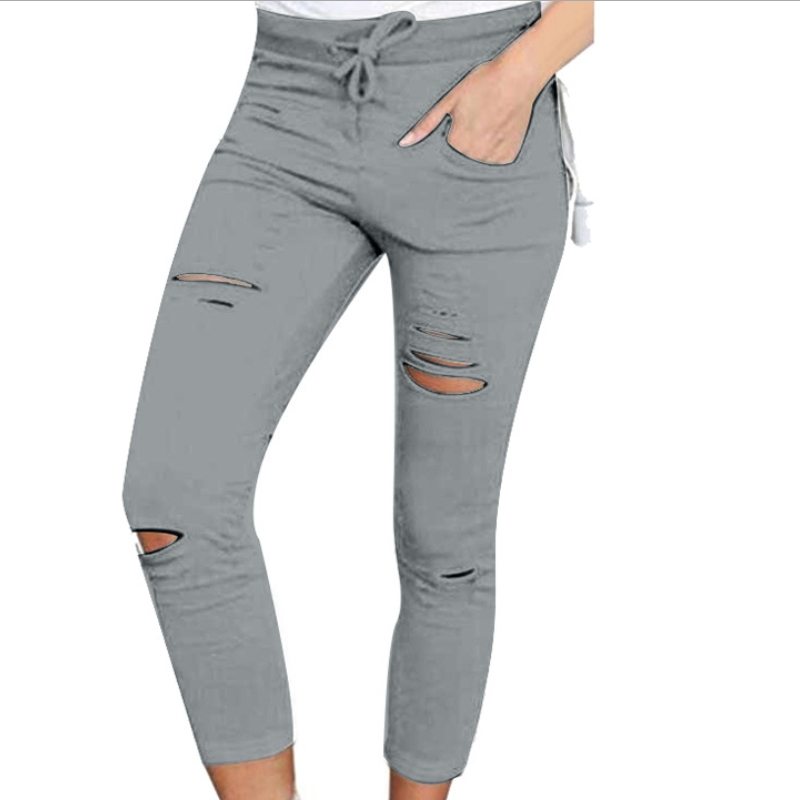 Latest design women casual jogger damaged pants K-005
