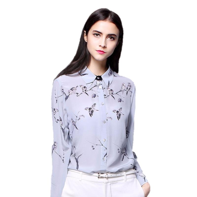 Long sleeve silk blouse women high quality floral printing silk shirts ZS-001