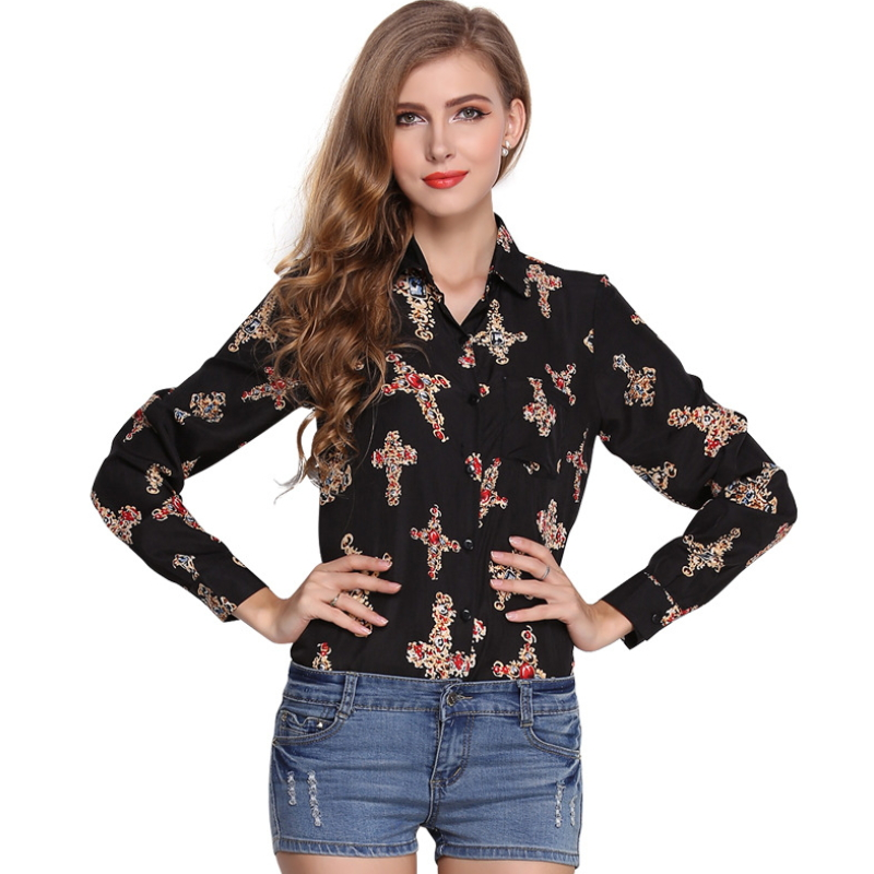 Lady chiffon blouses & top for women long sleeve printed t-shirts ZS-005