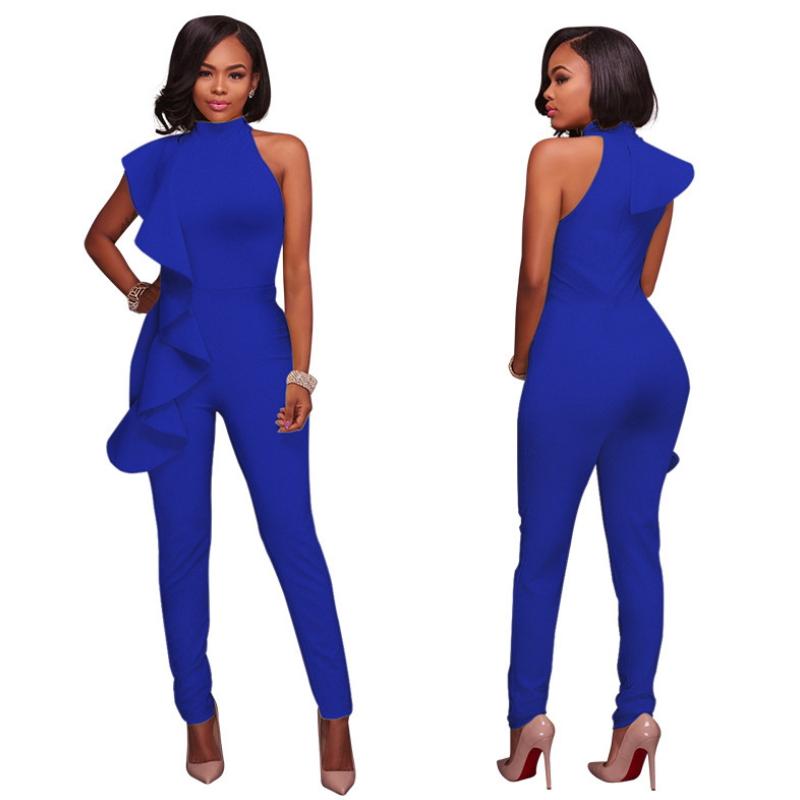 Long cotton Siamese trousers falbala sleeveless jumpsuit Dy-009
