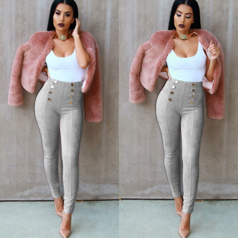 Monroo High quality fashion double-breasted women suede pants K-008