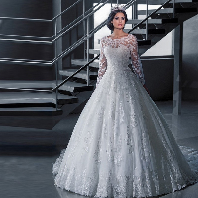 New arrivals  wedding bride dress white wedding gown with long sleeves H-001