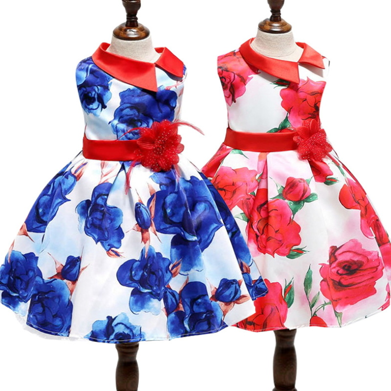 Kids Summer Sleeveless Dress Baby Girls Floral Frocks Performance Wear Birthday Party Dress Concert Costume T-010