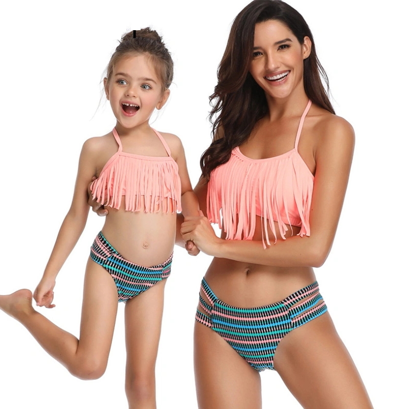 Kids and Parents Girls Swimsuit Tassel Plus Size Swimwear Sexy Bikini