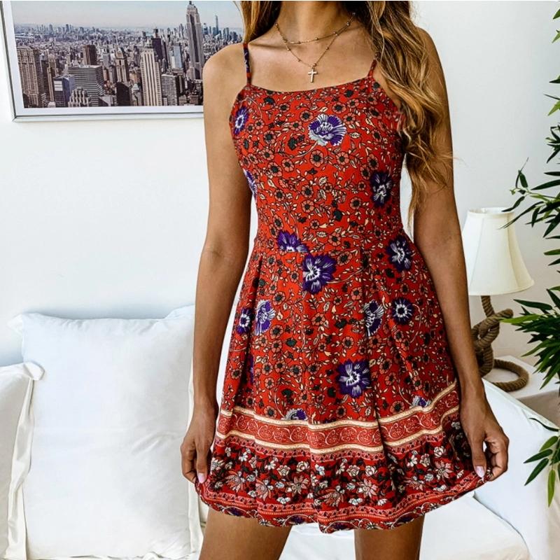 Summer New Fashion Ladies Flower Printing Beach Holiday Jumpsuit