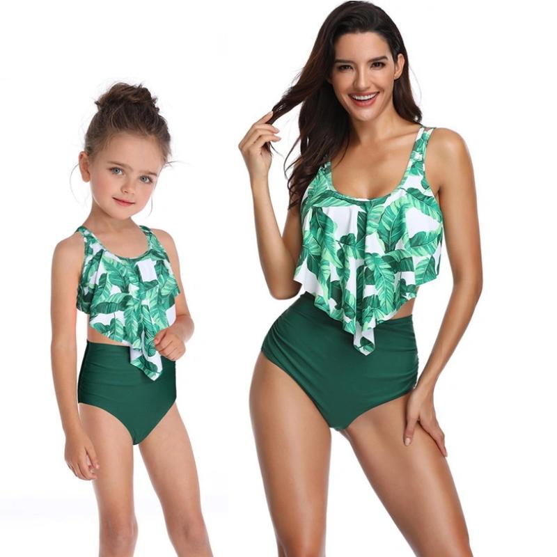 New Fashion Spectacular Asymmetry Ruffles Bikini Set High Waist for Parent-Child Outfit