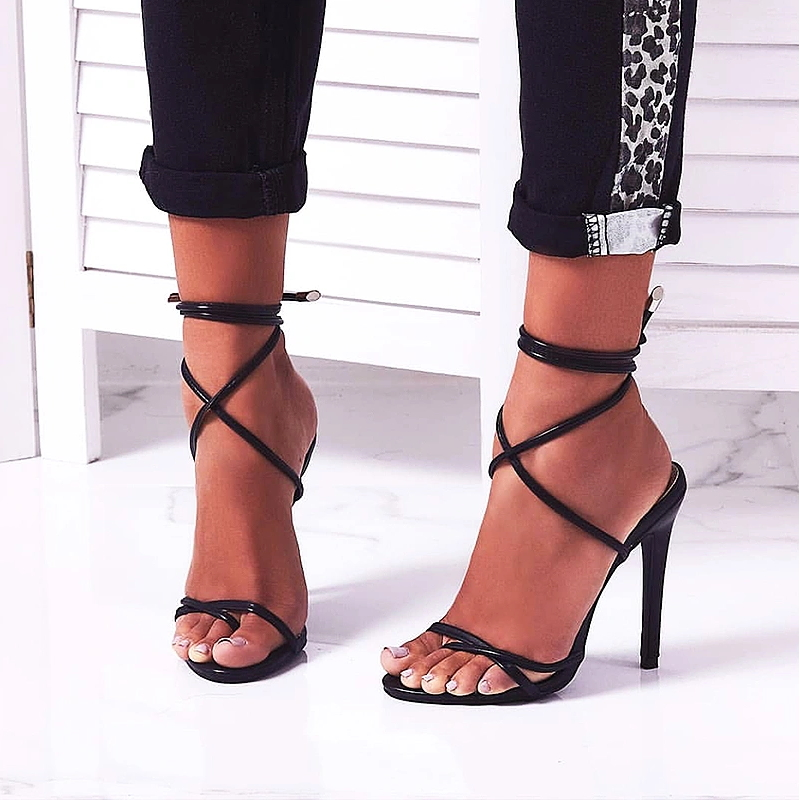 Wholesale Foreign Trade Lace up Invisible Strap Ladies Shoes Hot Sale Women High Heels