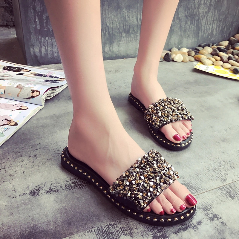 Latest Summer Diamond Slippers Ladies Fancy Sandals Rhinestone Crystal Flat Sandals for Women