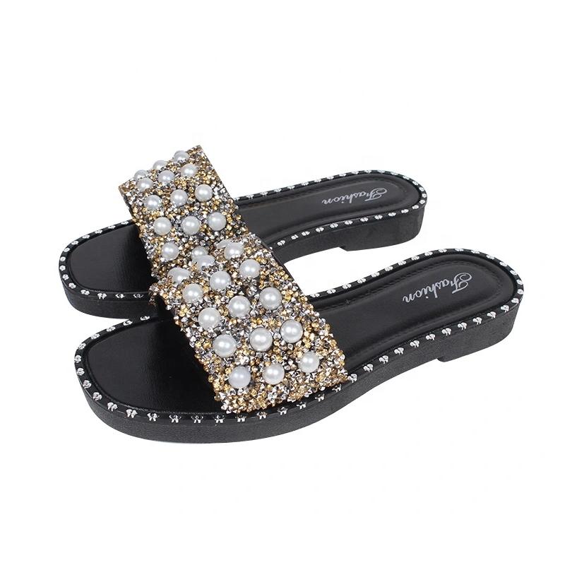 Mini Helisha Low Heel Woman Footwear Ladies with The Pearl Upper Rubber Slipper