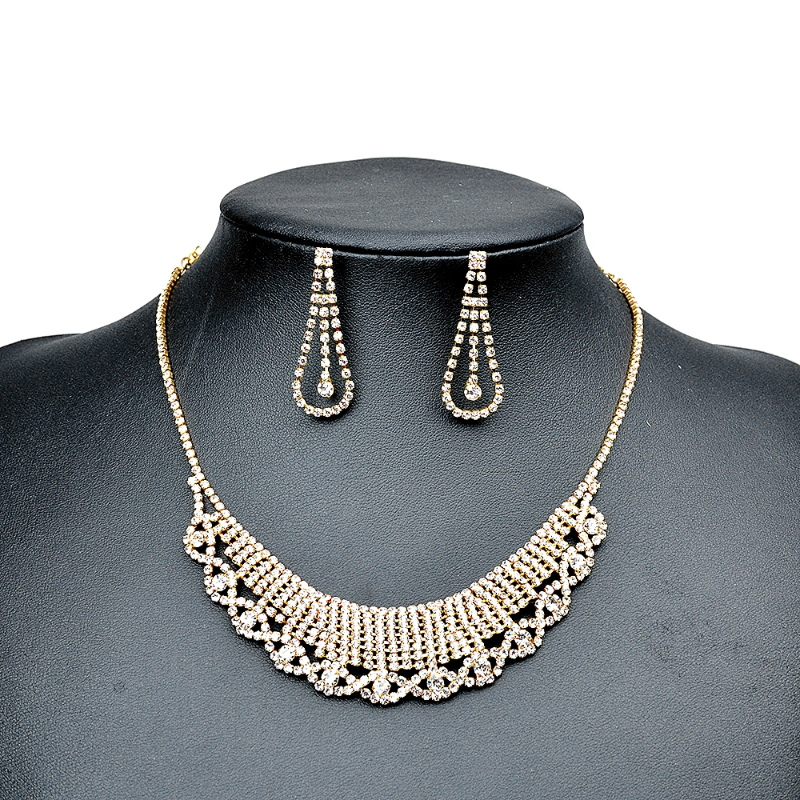 Gold Bridal Earring and Necklace Set Jewelry