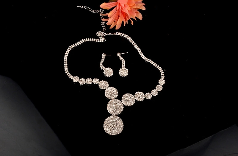 Big Diamond Fashion Love Bridal Wedding Necklace Earrings Jewelry Set for Party Luxury Dress Accessories