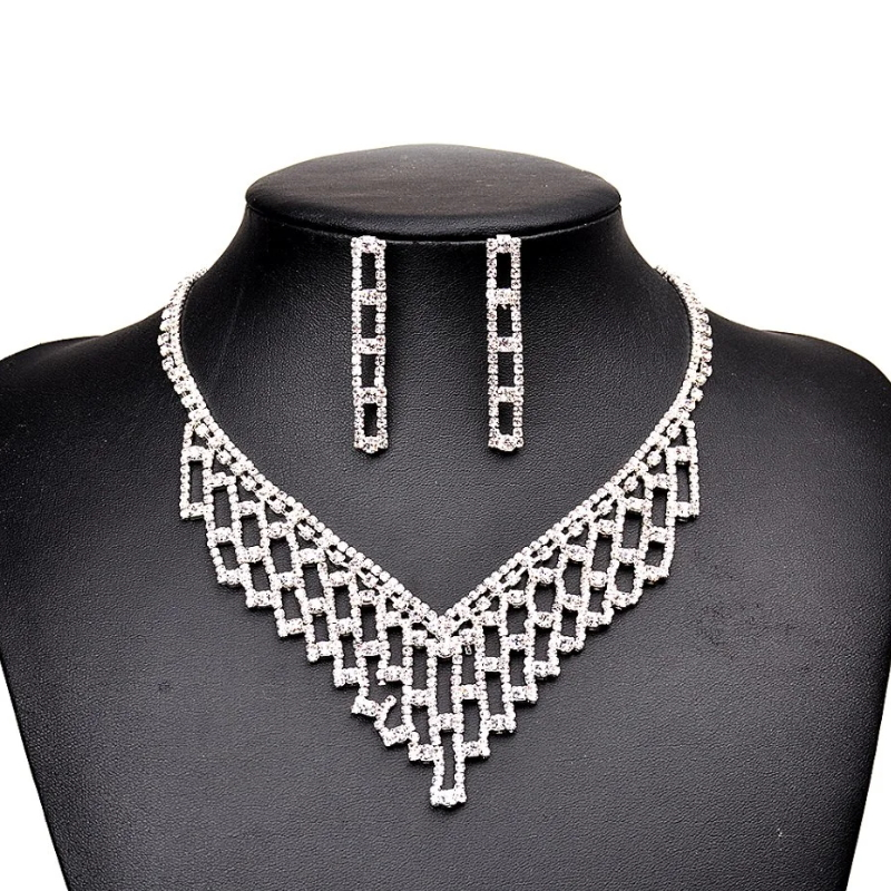 New Arrival American Stylish Female Jewelry Sets Wholesale Plated Rhinestone Jewelry Sets for Women