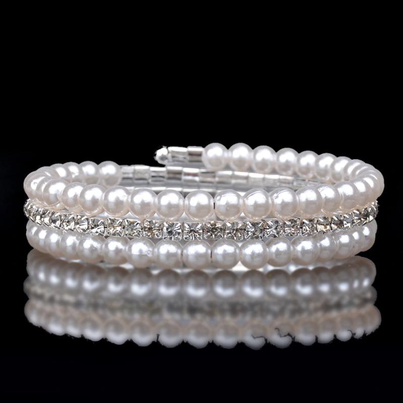 Beading Pattern Pearl Diamond Weave Elastic Wrap Bracelet Wedding Bridal White Pearl Crystal Multilayer Bracelet