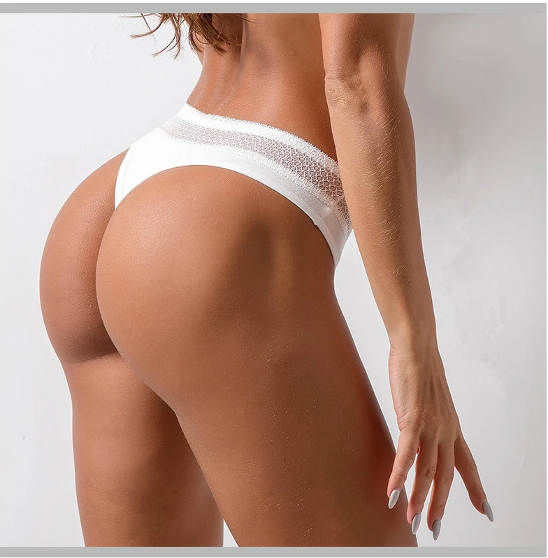 Thong Sports Pure Cotton Sexy Thong Lace Hollow out Fitness Sports Underwear Female