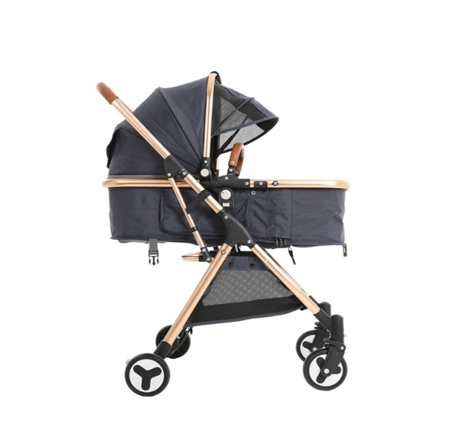 New High View Baby Stroller with Reclining Folding Shock Absorbent Four Seasons Two-Way Portable Baby Stroller