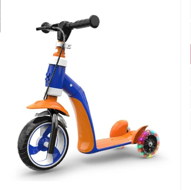 1-2-3 Year Old Children′s Scooter Can Sit Children′s Scooter Multi-Function Tri-Wheel Flash Sliding Block